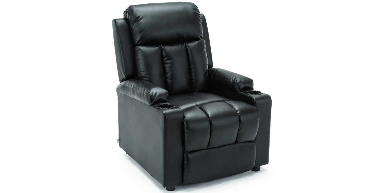 Miraculous Attenborough Compact Leather Push Back Recliner Chair In Black Andrewgaddart Wooden Chair Designs For Living Room Andrewgaddartcom