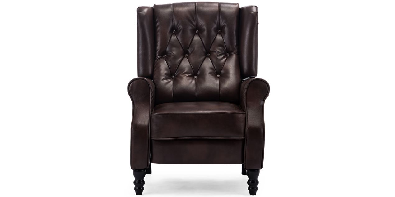 Ascott Leather Recliner Armchair In Brown
