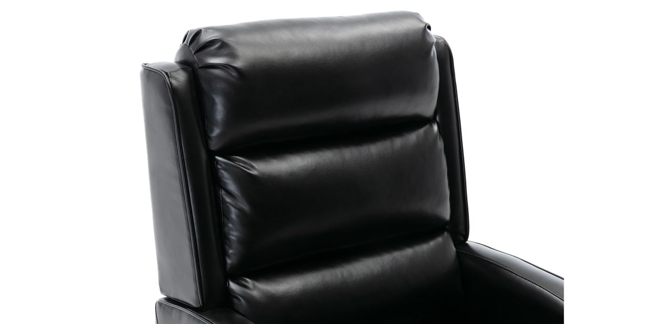 Norton Leather Push Back Recliner Chair in Black IMG