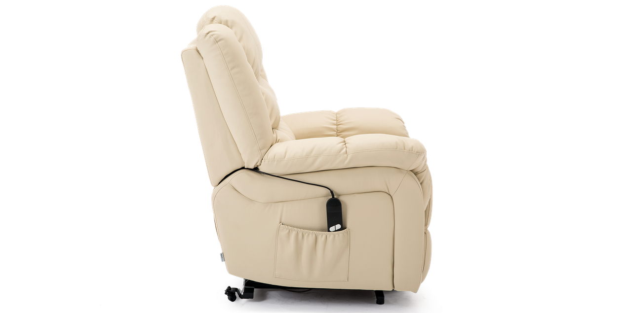 Cheshire Leather Rise Recliner Chair In Cream