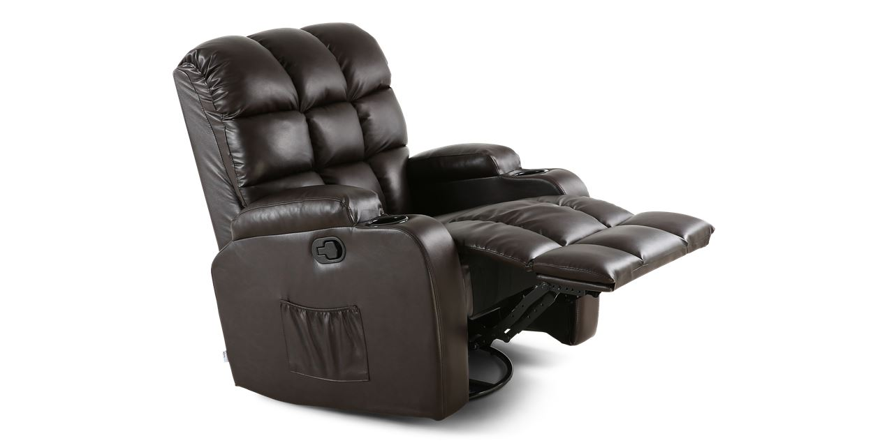 Roxby Leather Swivel Recliner Chair with Massage and Heat in Brown IMG