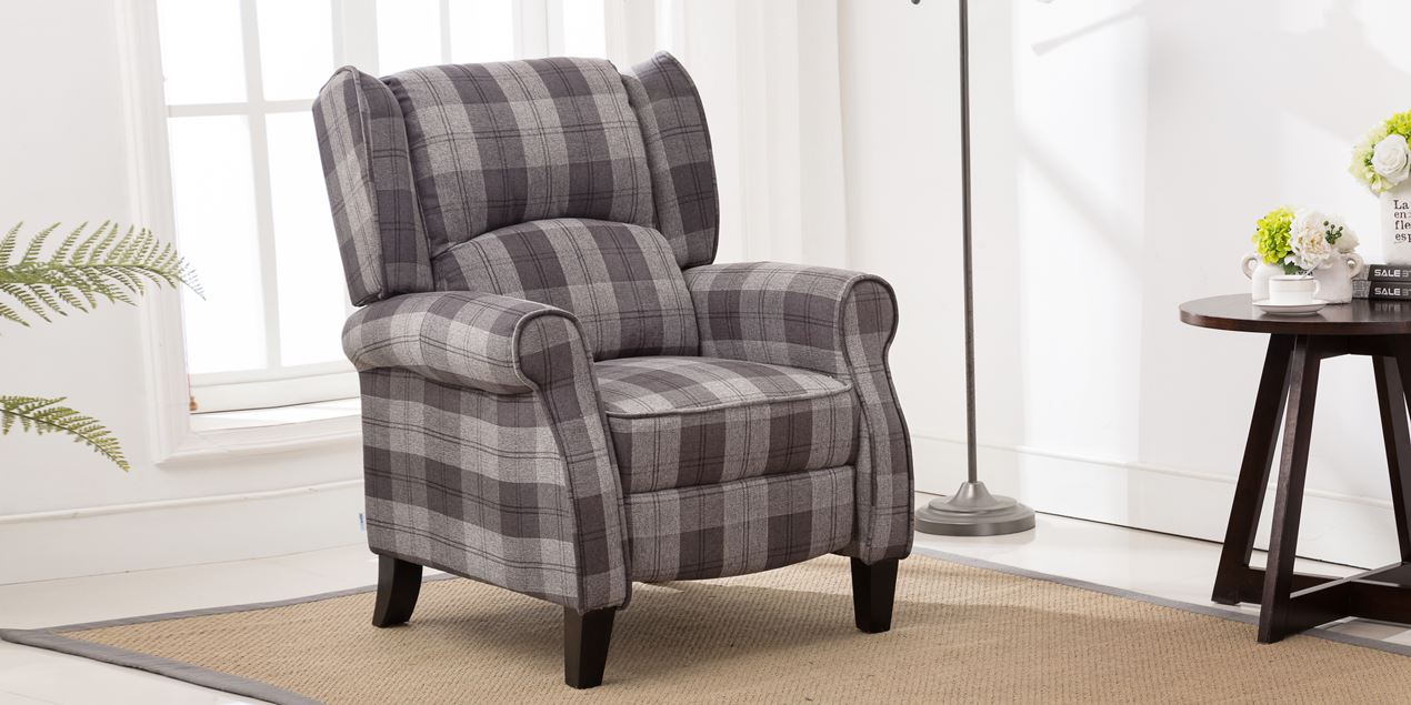 Eden Fabric Recliner Armchair in Grey Tartan
