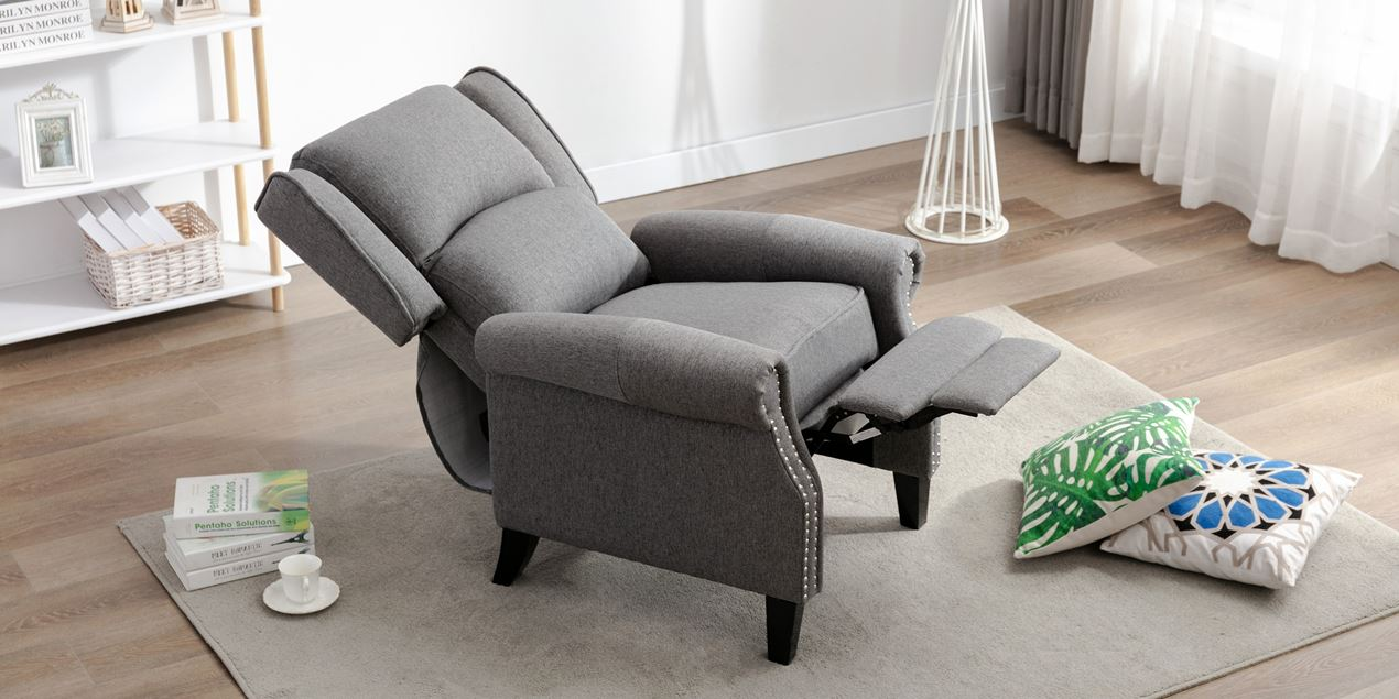 Charlotte Fabric Push Back Recliner Chair in Grey IMG