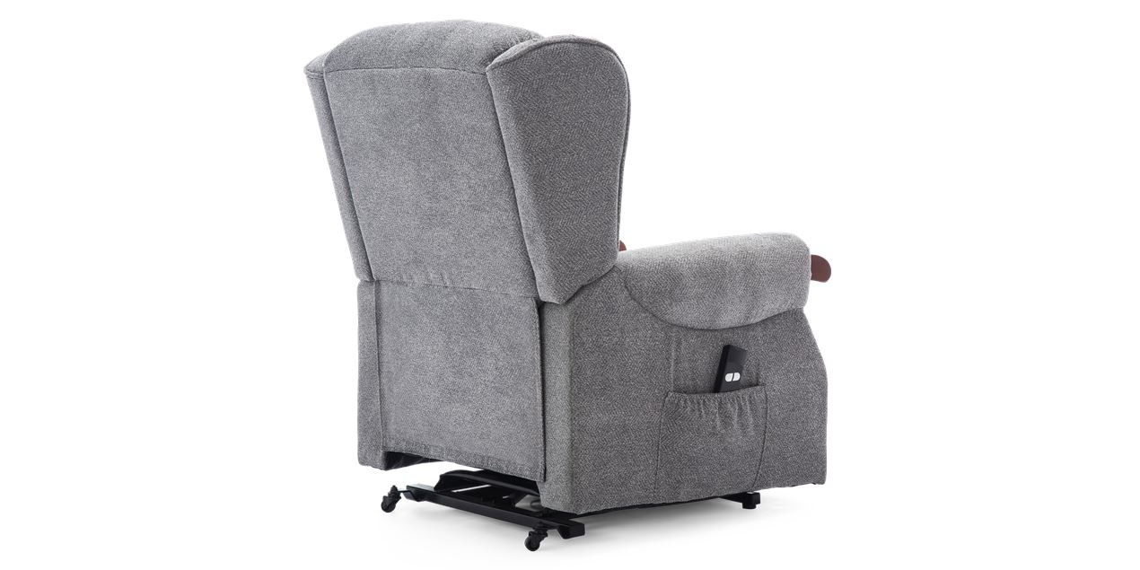 Harrison Fabric Rise Recliner In Pebble Grey