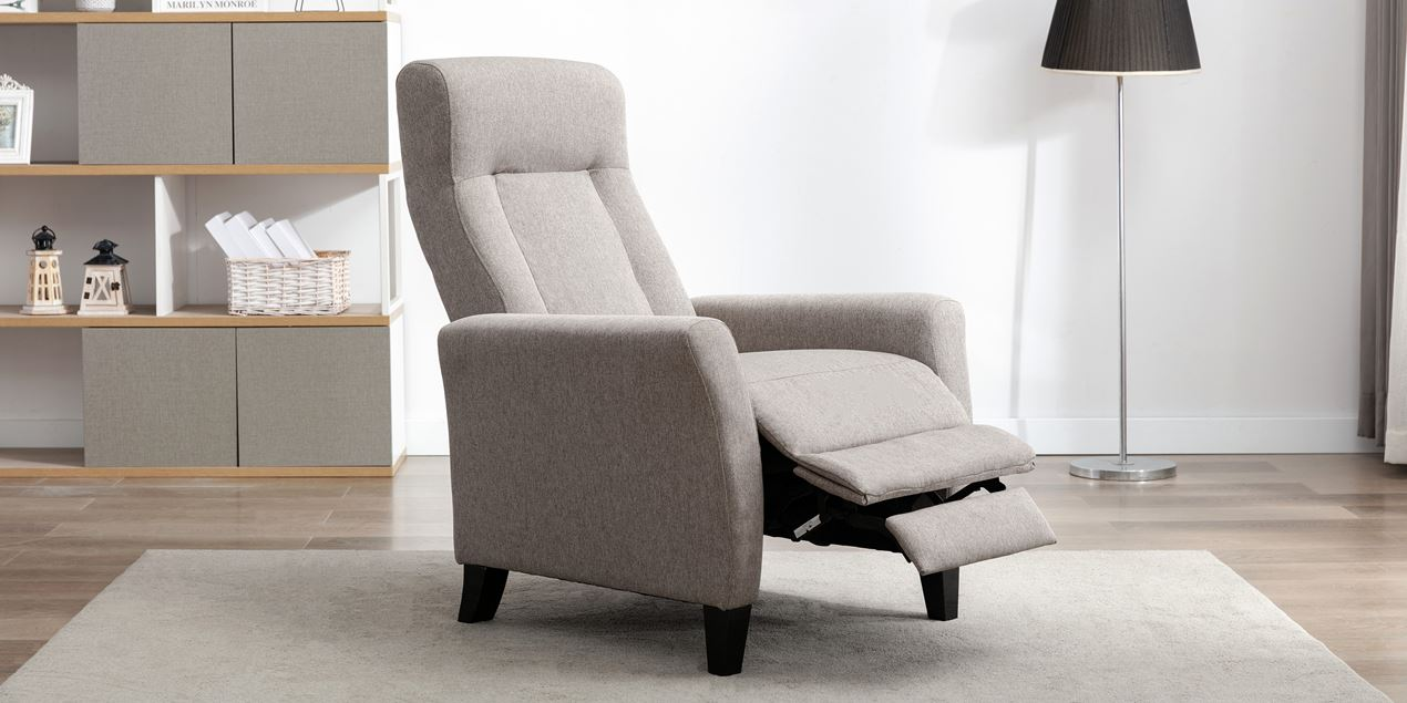 Eppleworth Fabric Push Back Recliner Chair in Pumice IMG