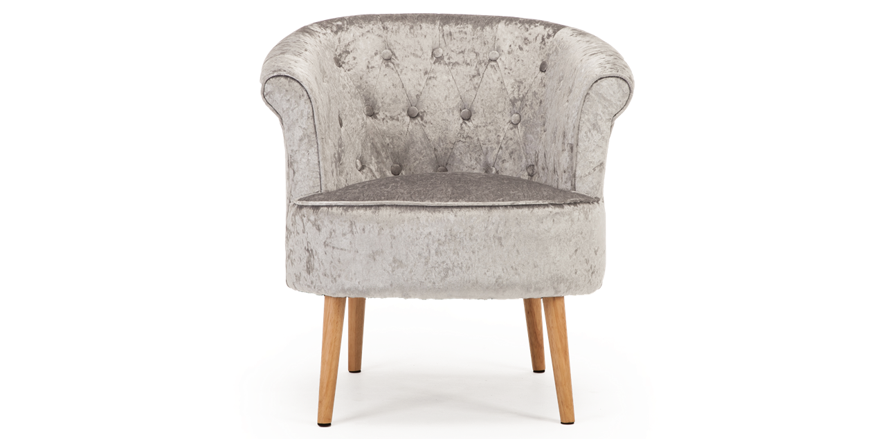 Darleya Accent Chair In Silver Crushed Velvet