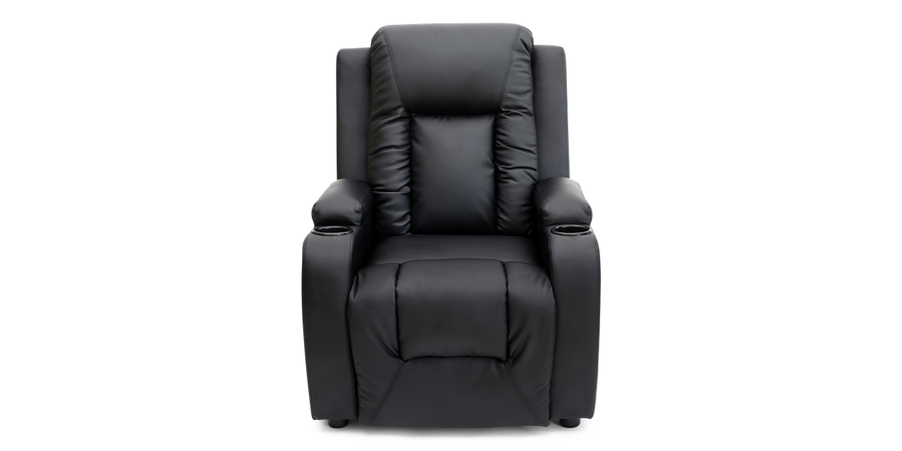 Cameron Leather Push Back Recliner Chair in Black IMG