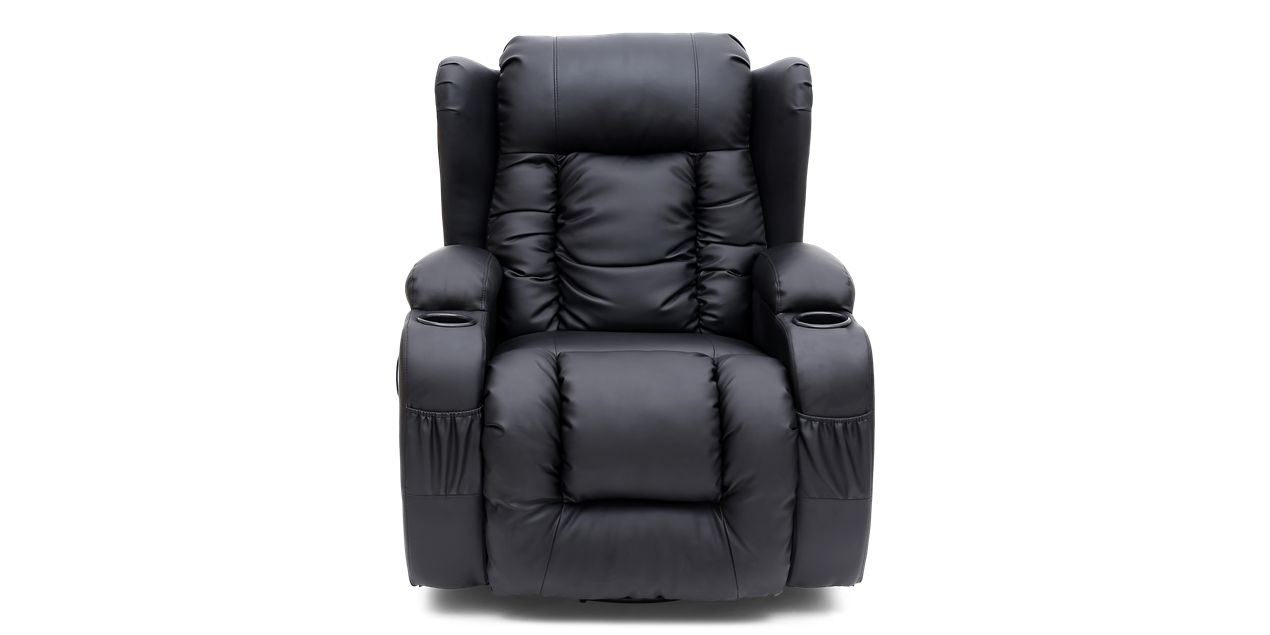 Rockingham Leather Swivel Recliner Chair with Massage and Heat in Black IMG