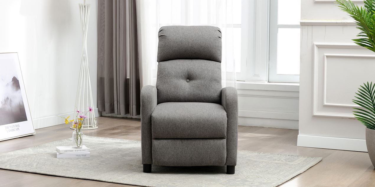 Milton Fabric Push Back Recliner Chair in Grey IMG