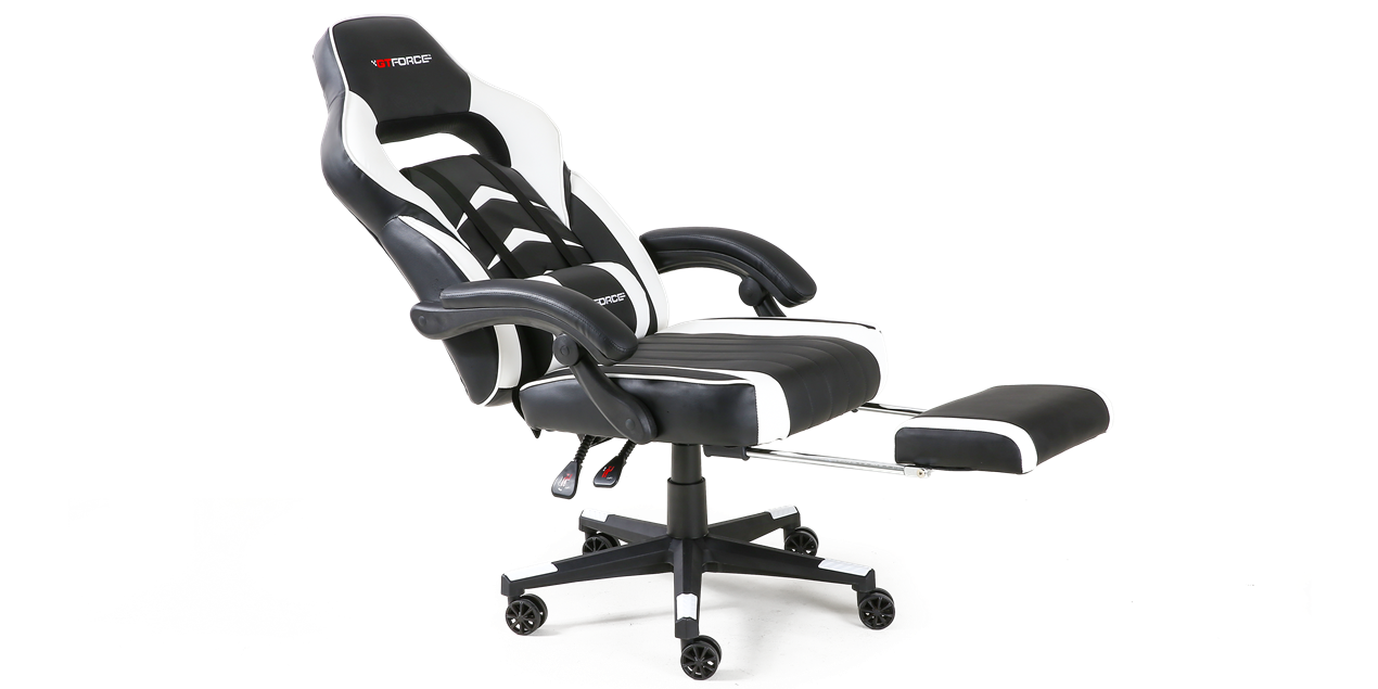 GTForce Turbo Gaming Chair with Recline and Footrest in Black and White IMG