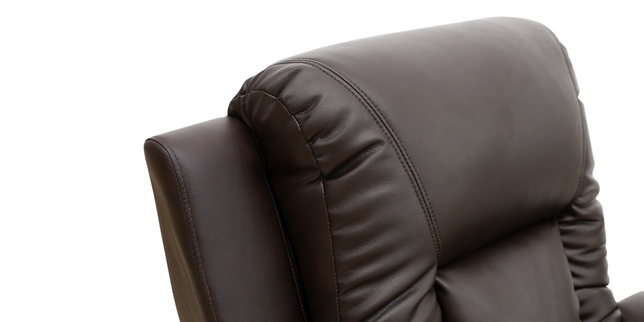 Cameron Leather Push Back Recliner Chair in Brown IMG