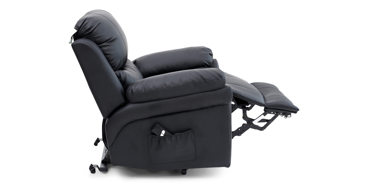 Richmond Rise Recliner Leather Chair in Black IMG