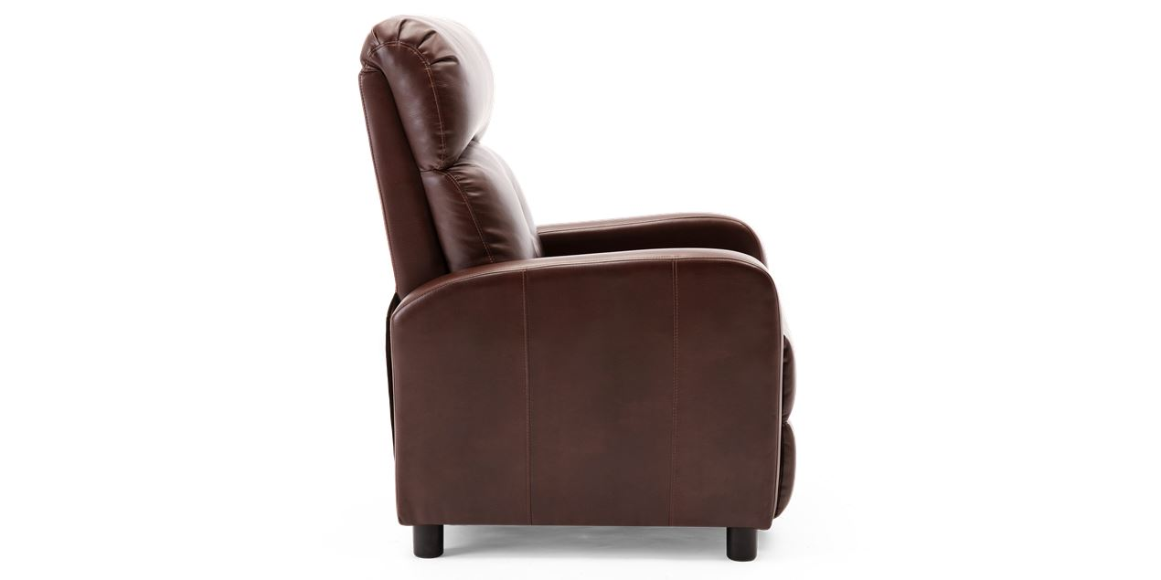 Milton Faux Leather Push Back Recliner Chair in Brown IMG