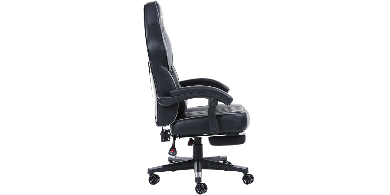 Turbo Gaming Chair With Recline And Footrest In Black Grey