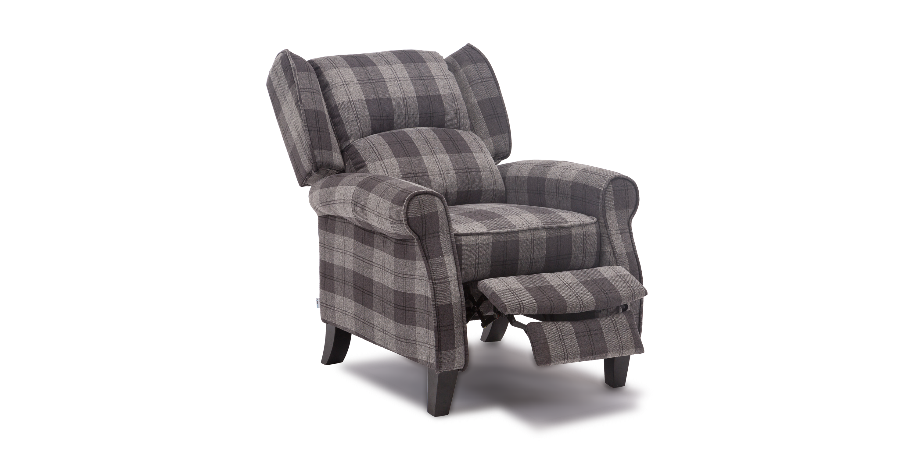 Eden Recliner Armchair In Tartan Grey