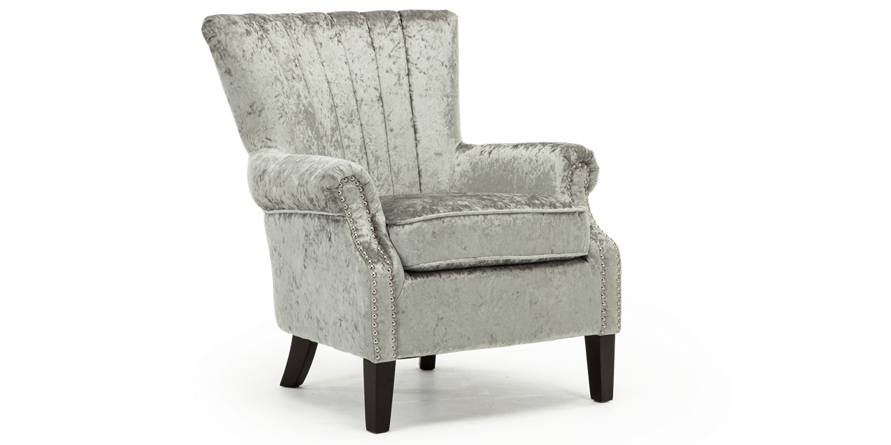 Orlenca accent chair in silver crushed velvet img 1 1270 x 635