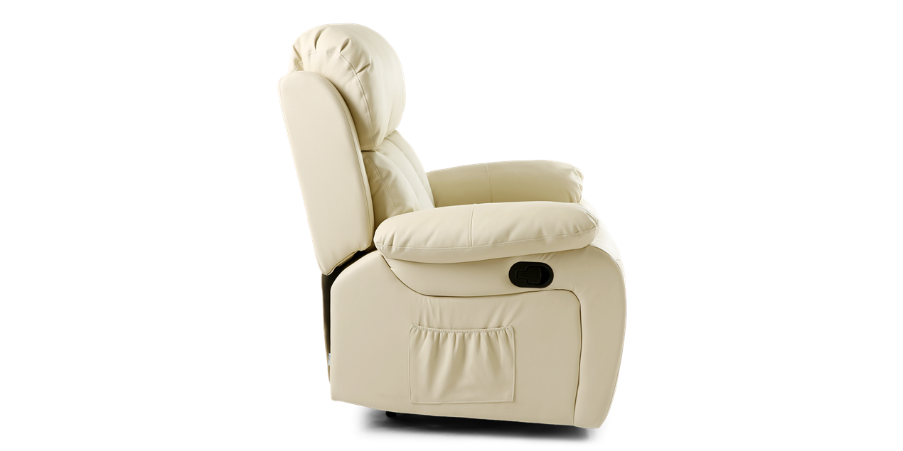 Salisbury Manual Recliner Chair With Massage And Heat In Cream