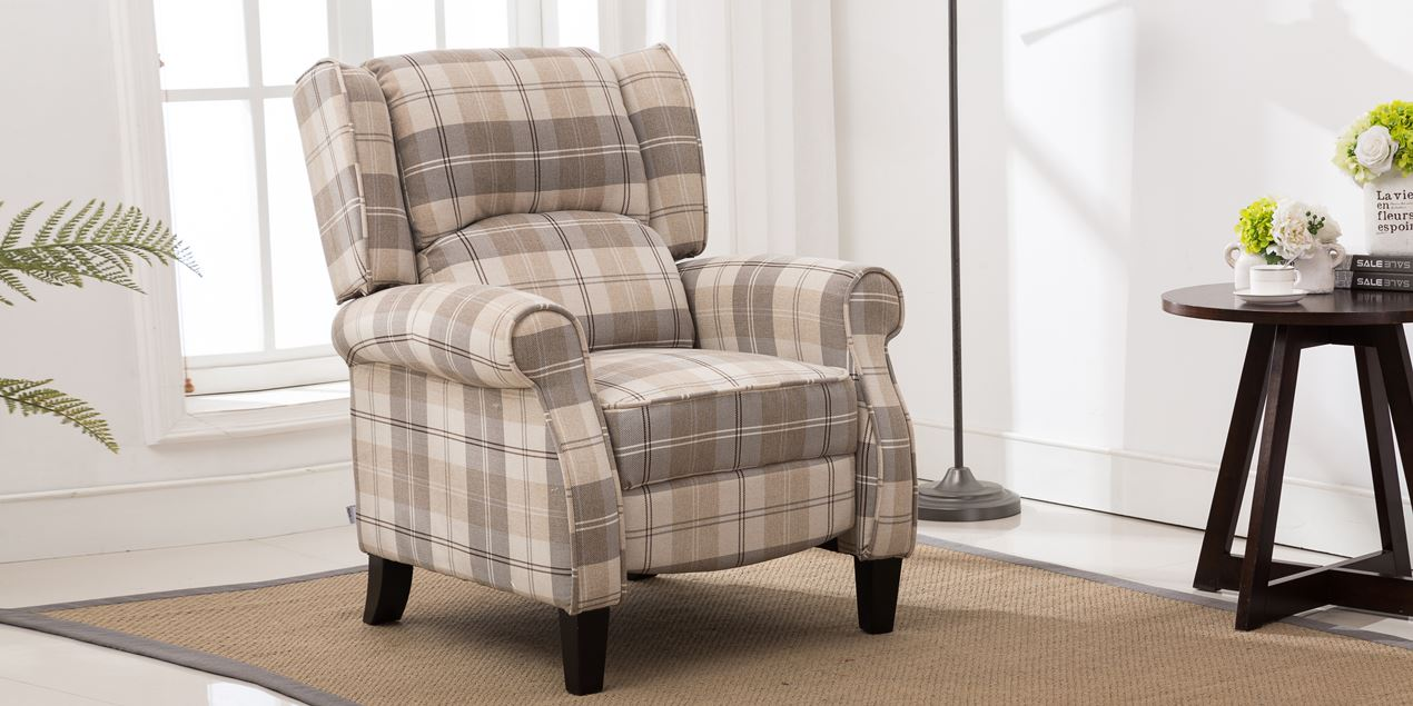 Eden Fabric Recliner Armchair In Beige Tartan