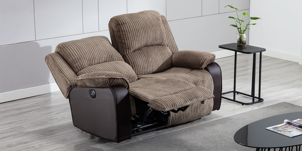 Keston Electric 2 Seater Recliner Sofa in Brown Jumbo Cord IMG
