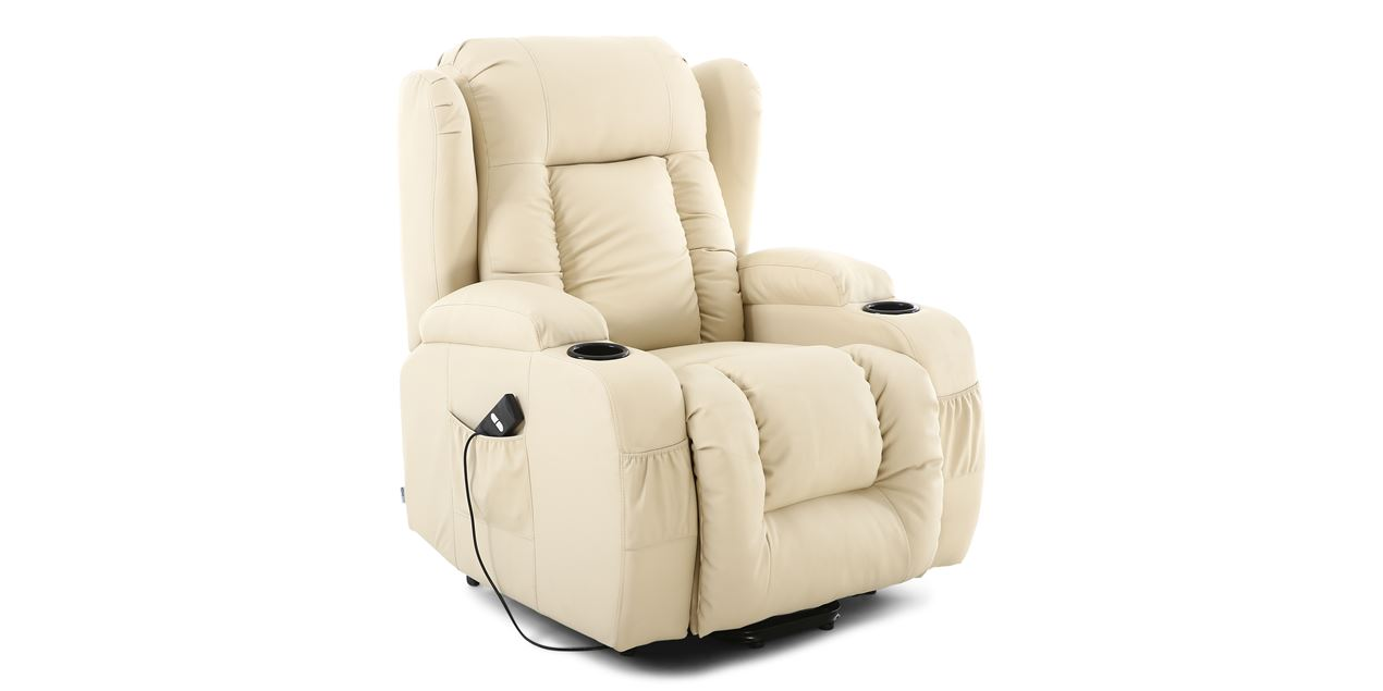 Rockingham Leather Rise Recliner Chair with Massage and Heat in Cream IMG