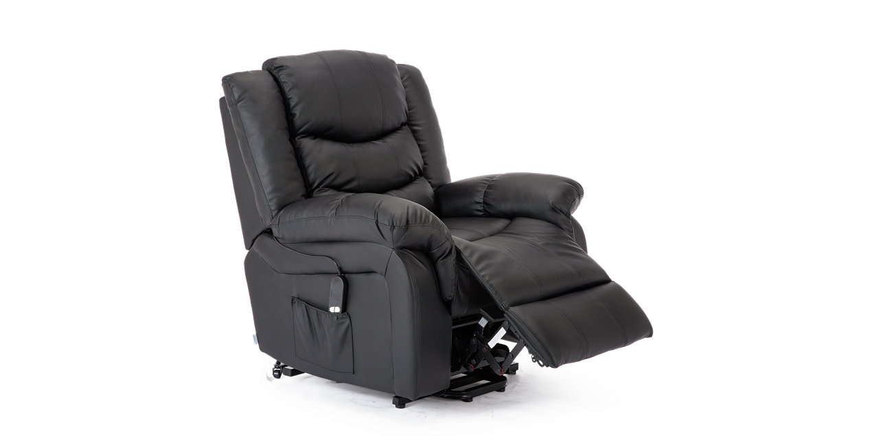 Cheshire Leather Rise Recliner Chair in Black IMG