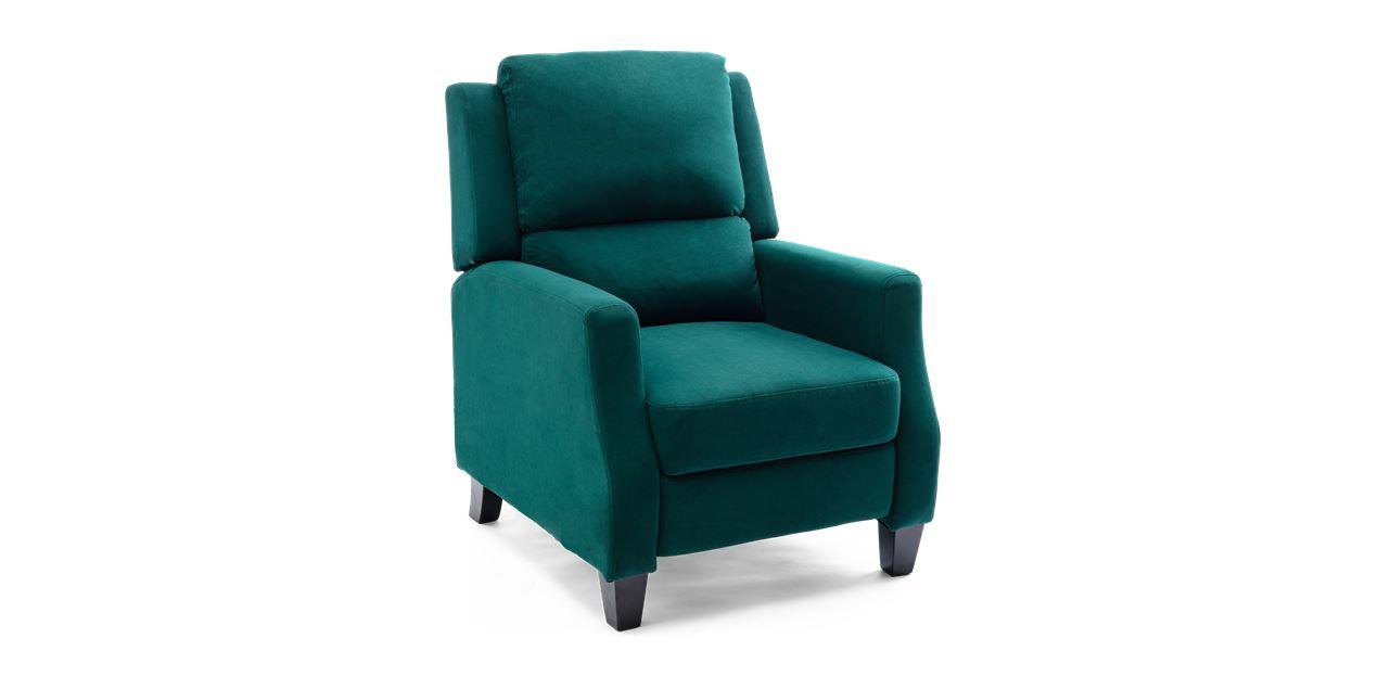Burleigh Velvet Pushback Recliner Armchair In Green