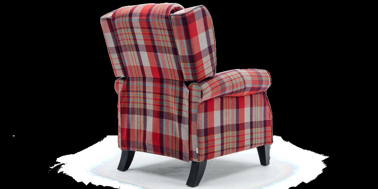 Eden Fabric Recliner Armchair In Red Tartan