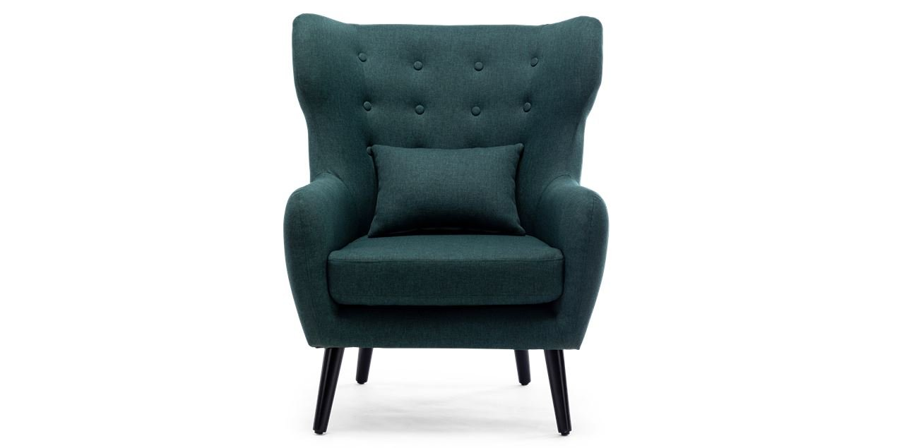 Winslow Accent Chair in Green with Stool IMG