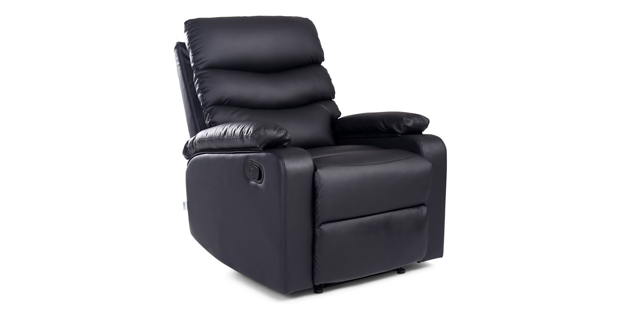 Ashley Manual Leather Recliner In Black