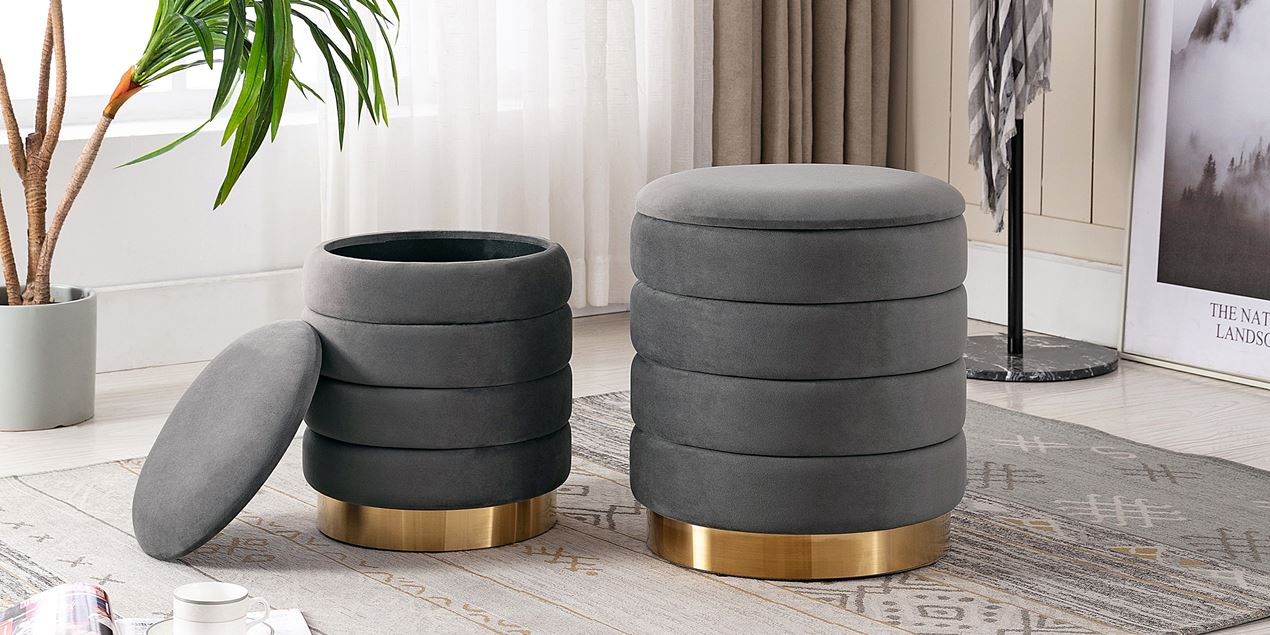 Fillipa Velvet Storage Stool Set in Grey IMG