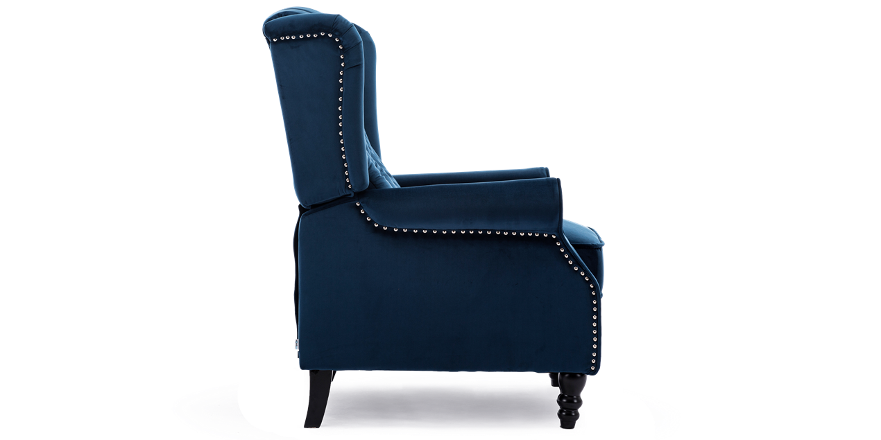 Ascott Recliner Armchair in Midnight Blue Velvet IMG