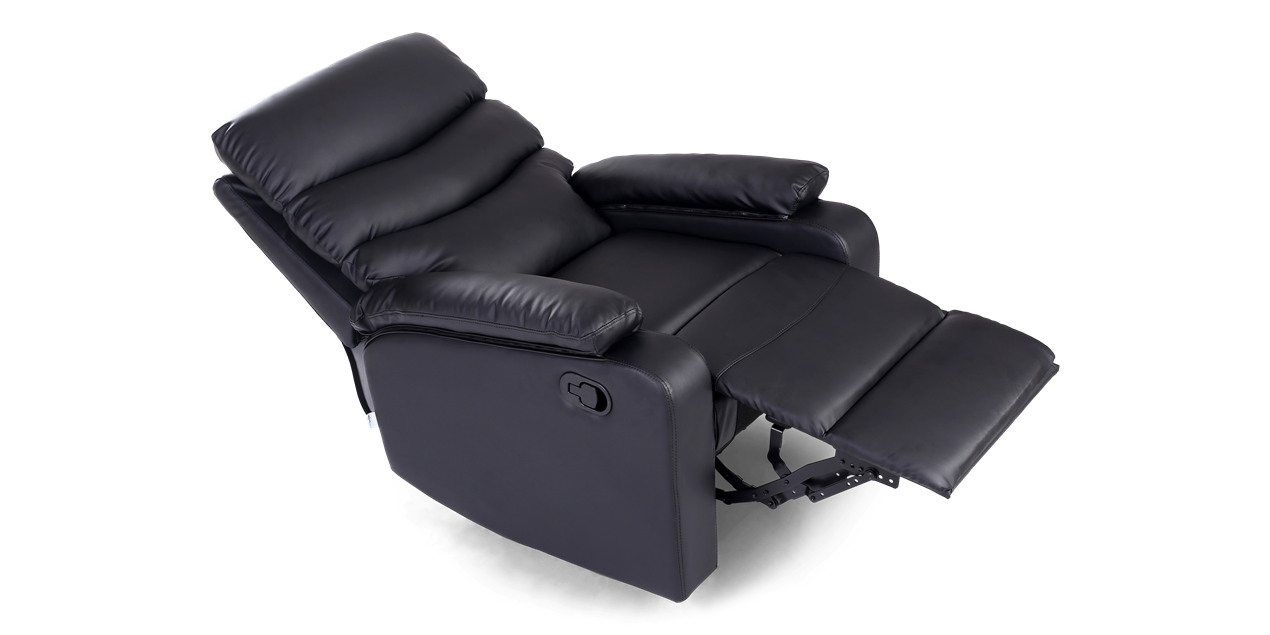 Ashley Manual Leather Recliner Chair in Black IMG