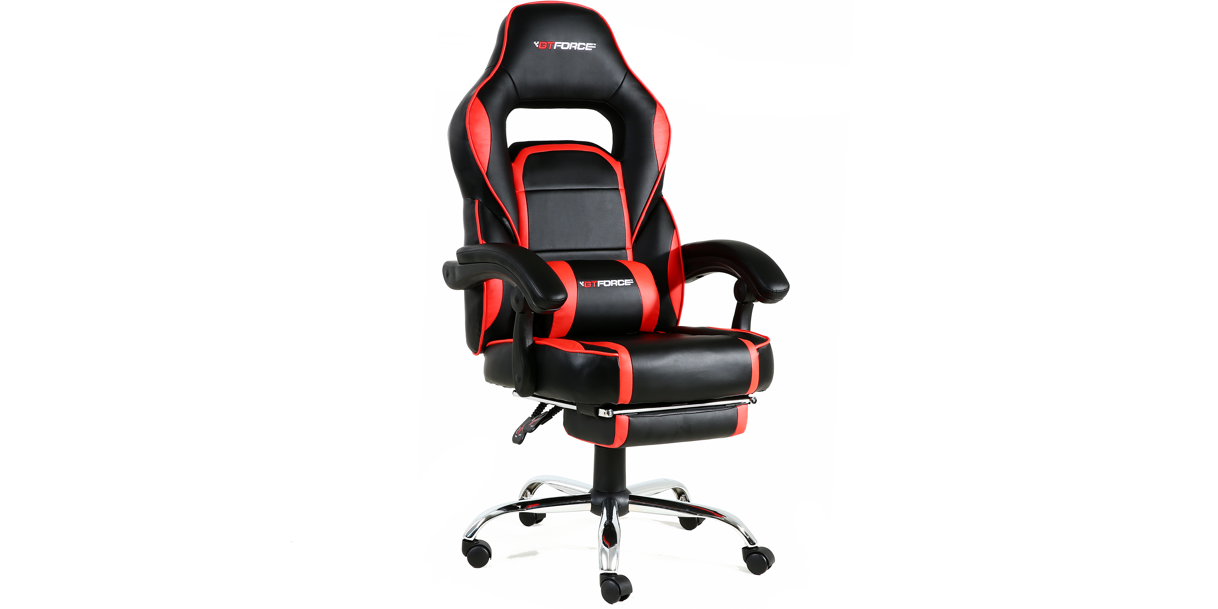Pace Gaming Chair With Recline And Footrest In Black Red