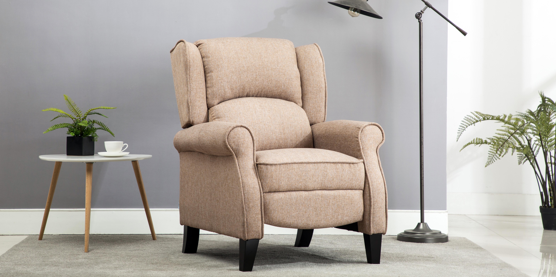 Eden Herringbone Fabric Recliner Armchair In Beige