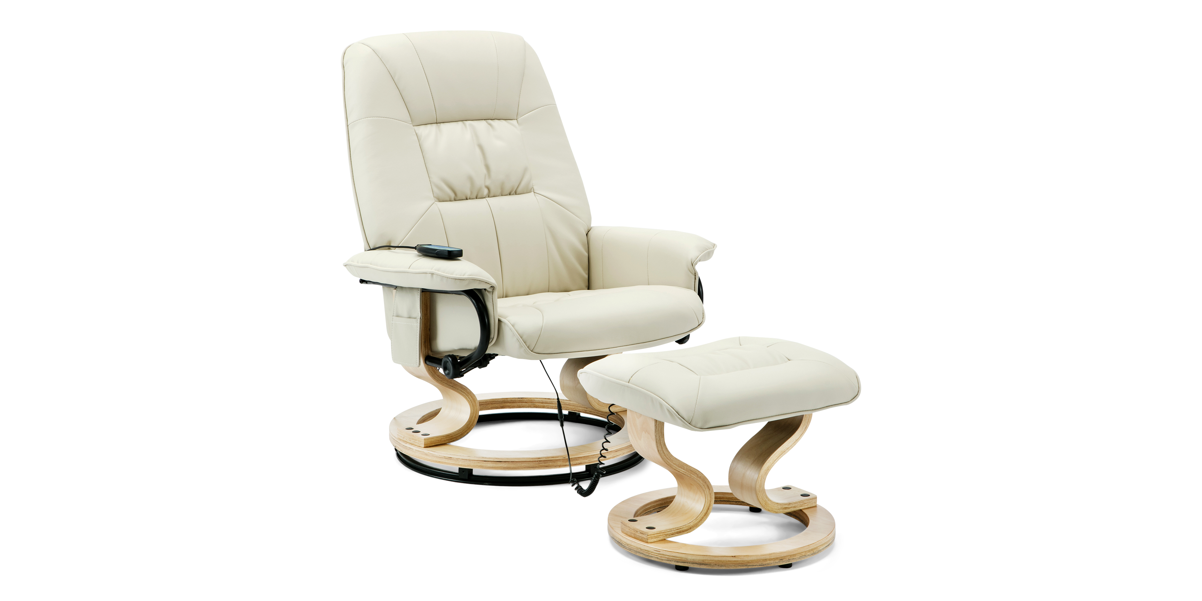 Tilbury Swivel Recliner Chair With Foot Stool In Cream