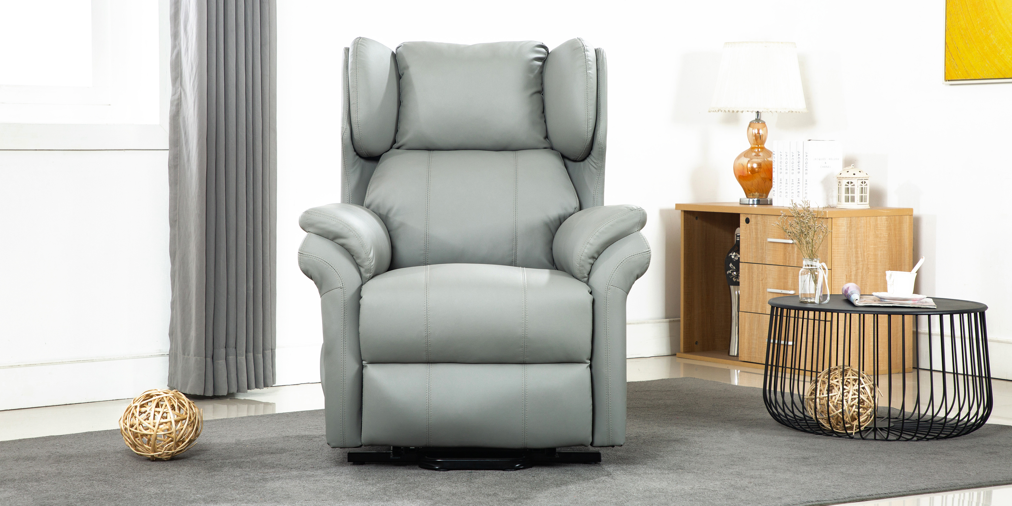 Oakley Leather Electric Rise Recliner Chair In Grey
