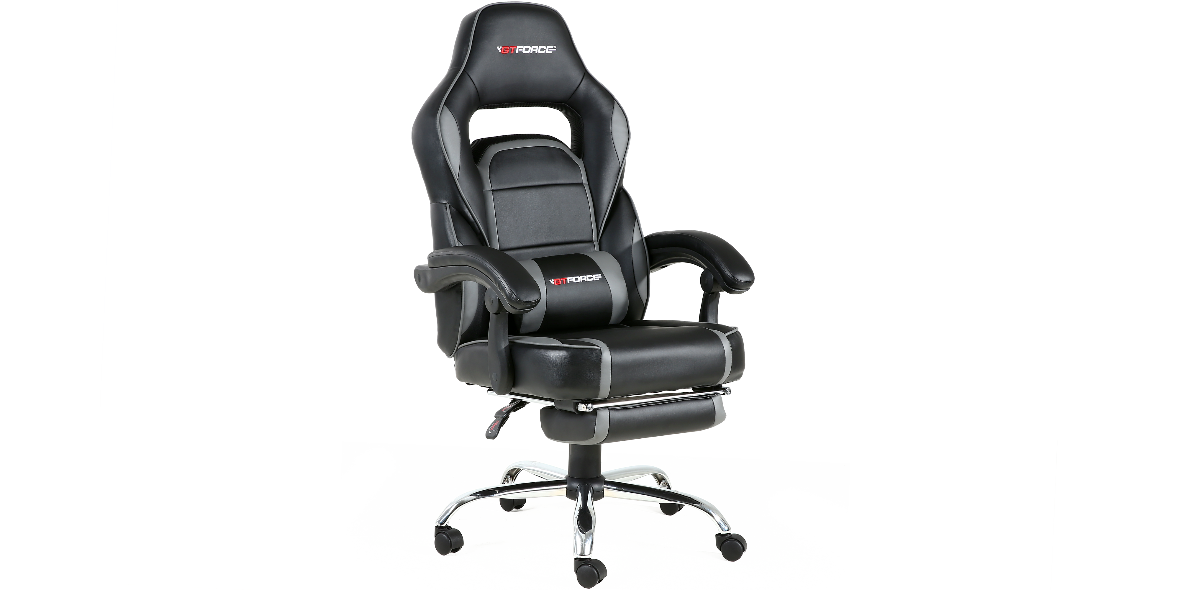 Pace Gaming Chair With Recline And Footrest In Black Grey