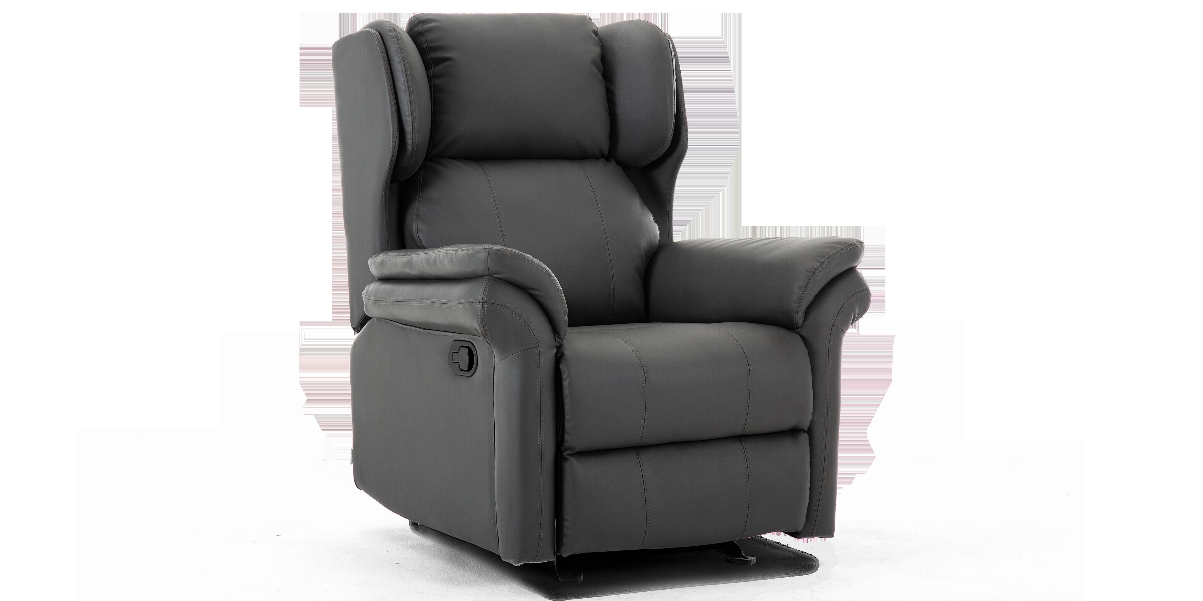 Oakley Leather Manual Recliner Chair In Slate Grey
