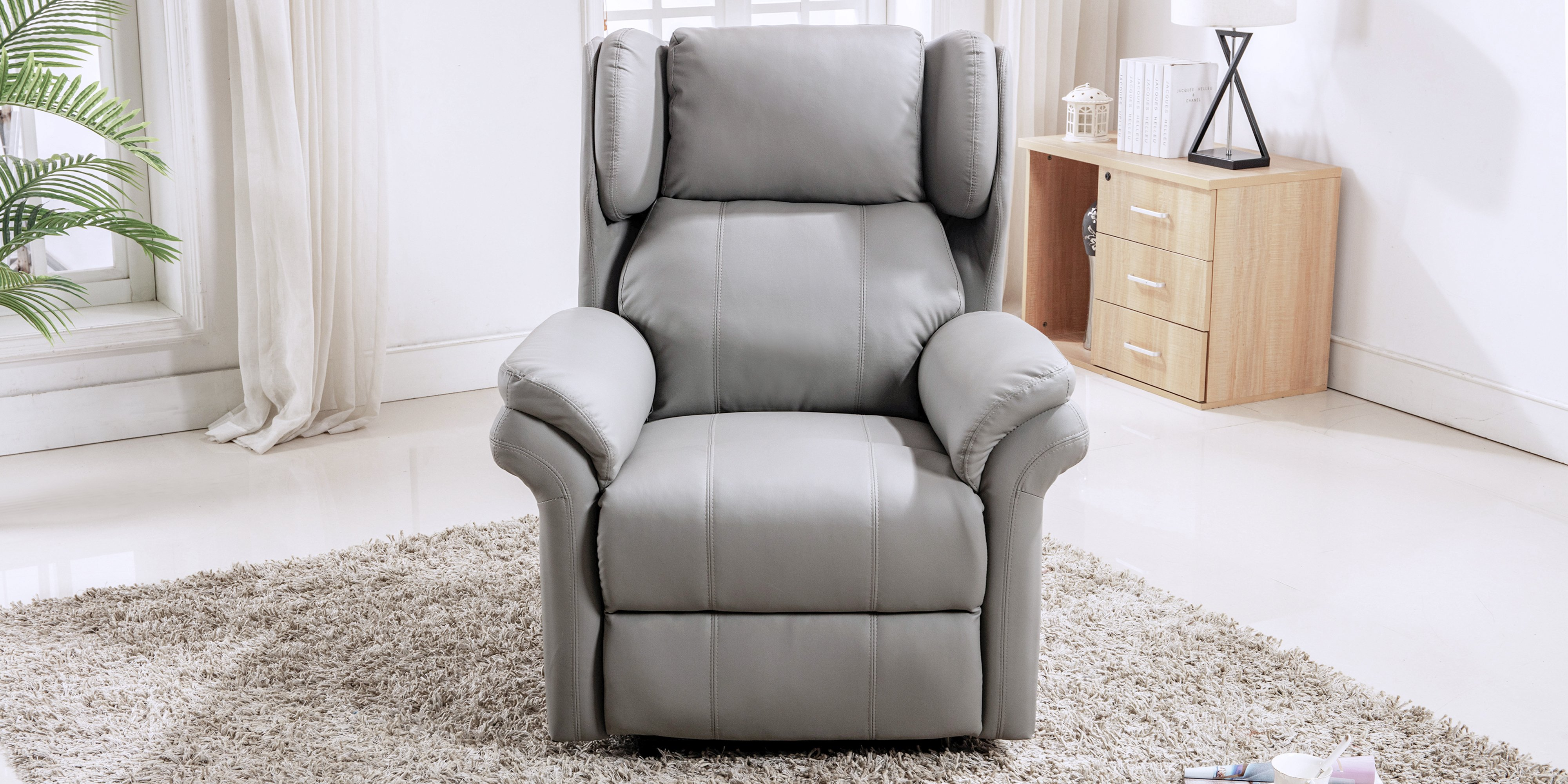 Oakley Leather Electric Recliner Chair In Grey