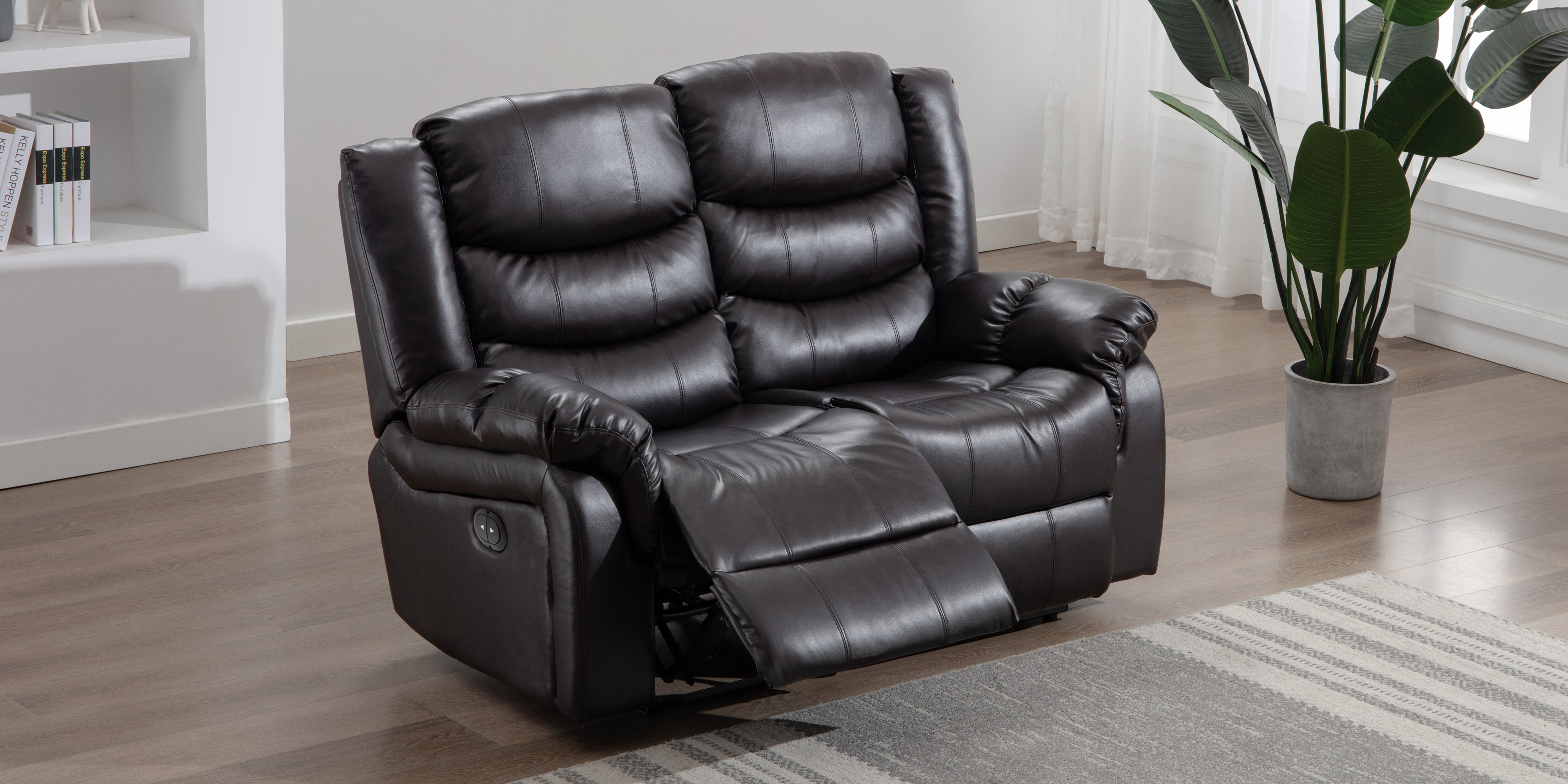 Cheshire Electric 2 Seater Leather Recliner Sofa In Brown