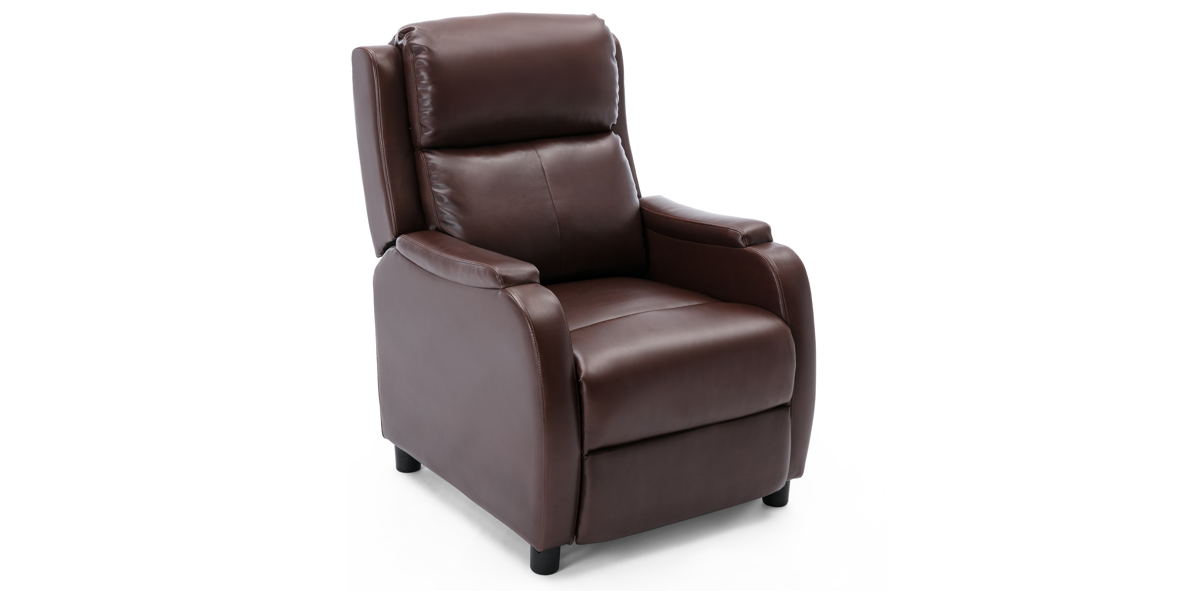 Cameron Leather Push Back Recliner Chair in Brown