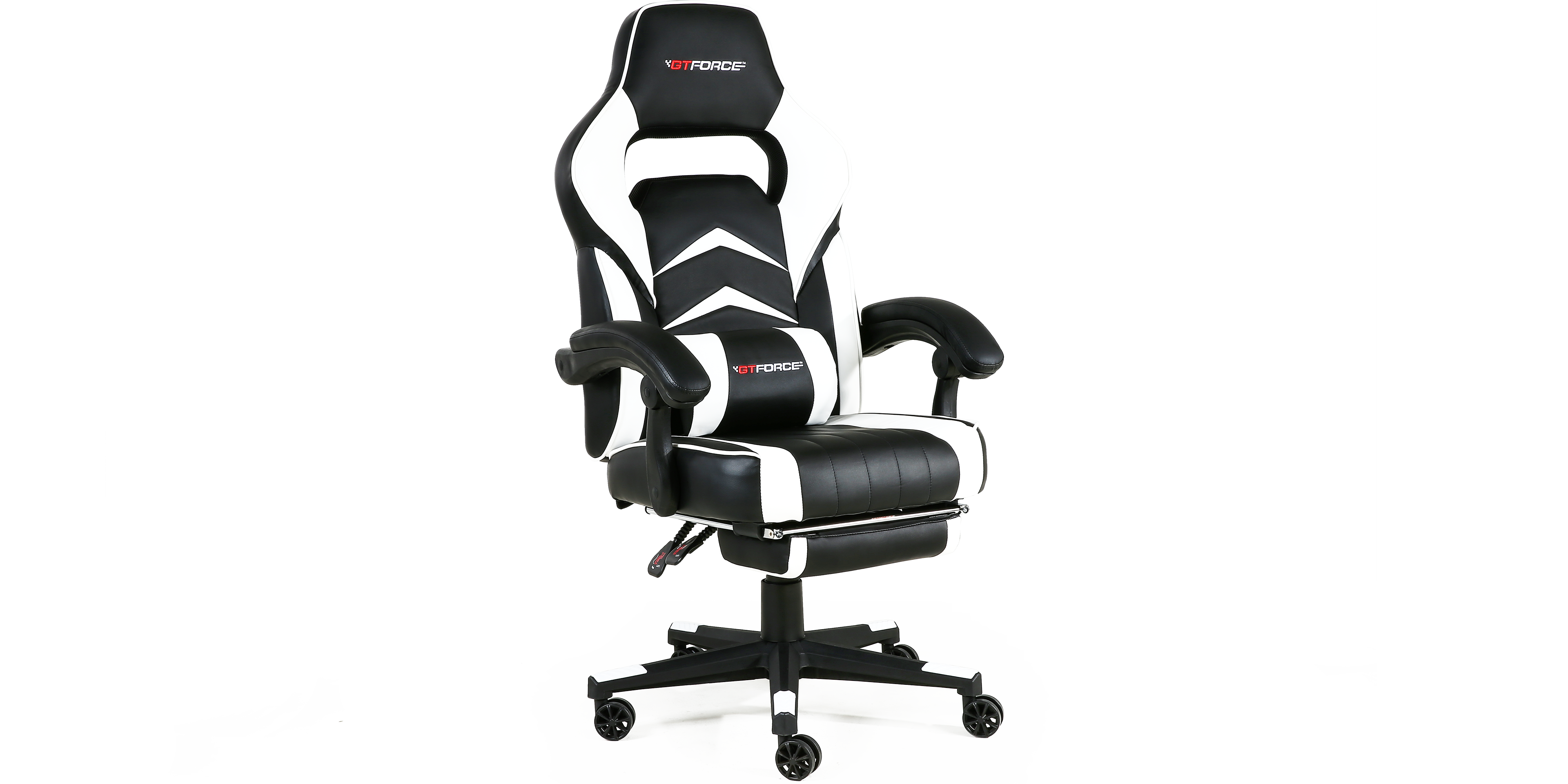 Turbo Gaming Chair With Recline And Footrest In Black White
