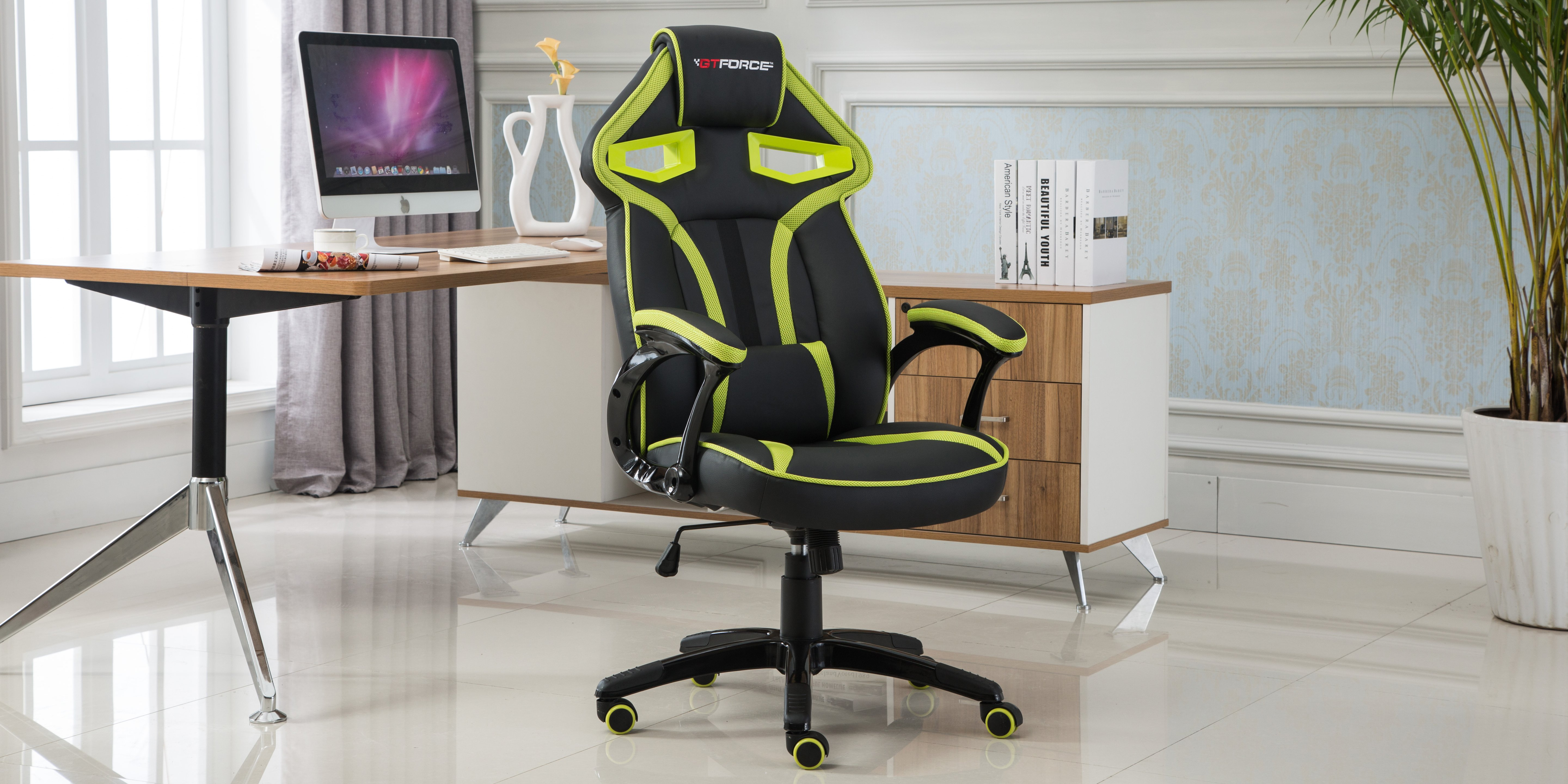 Awesome Gtforce Roadster 1 Gaming Chair With Adjustable Lumbar Support In Black Green Forskolin Free Trial Chair Design Images Forskolin Free Trialorg