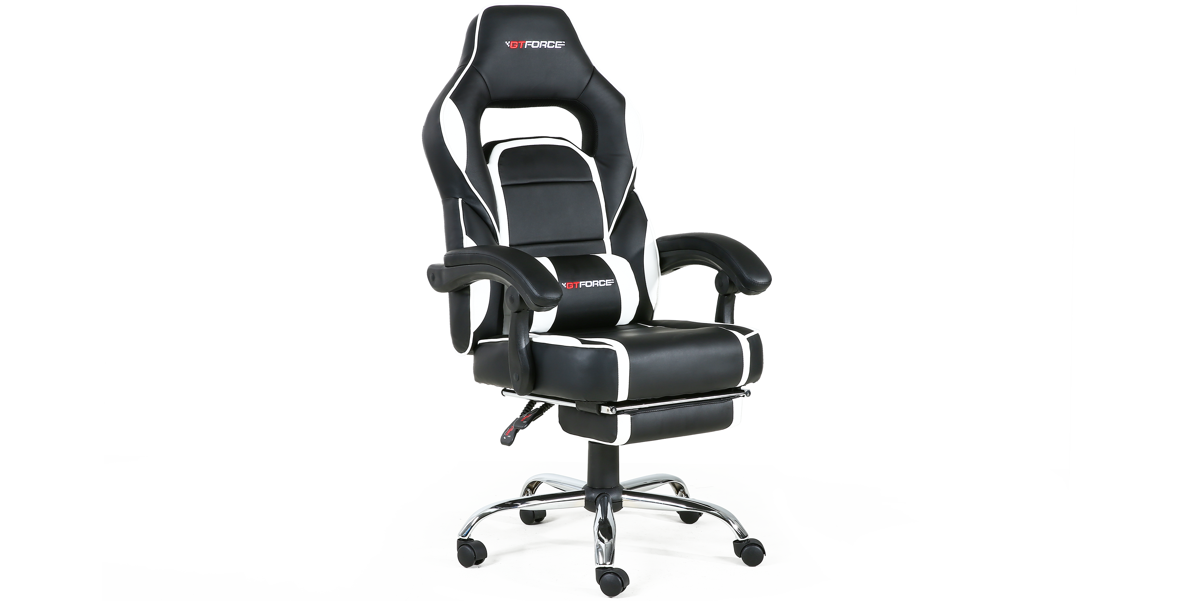 Pace Gaming Chair With Recline And Footrest In Black White